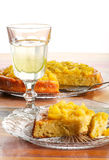 Apple and Rhubarb Cake on Glass Plate Lemonade in Glass Stock Photo