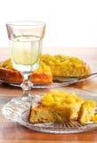 Apple and Rhubarb Cake on Glass Plate Lemonade in Glass Stock Photo