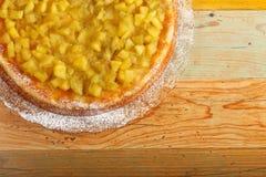 Apple and Rhubarb Cake on Glass Plate Stock Image
