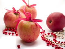 Apple with ribbon Royalty Free Stock Images