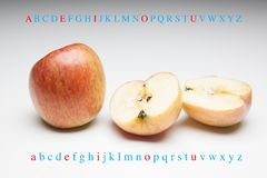 Apple rich in flavor and vitamins. The apple, sweet and tasty, ideal to be eaten both in the breakfasts and at noon and in the snacks, there are sweet and juicy royalty free stock photos