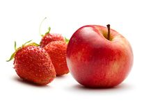 Apple and ripe strawberry Royalty Free Stock Photos