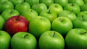 Apple rojo en manzanas verdes - concepto individual almacen de video