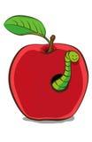 Apple rojo ilustrado con el gusano imagen de archivo