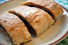 Apple roll. Detail photo of apple roll strudel without sugar Royalty Free Stock Image
