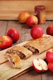 Apple roll. Or pie with apples Stock Images