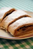 Apple roll with sugar. Detail photo of apple roll strudle sugar coated Stock Photography