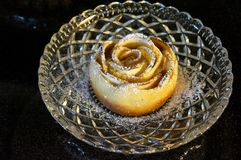 Apple Rose Pie. An apple rose pie on a crystal plate Royalty Free Stock Photo