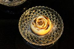 Apple Rose Pie. An mini apple rose pie on a crystal plate Stock Photography