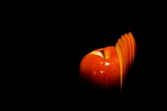 Apple rosso affettato Fotografia Stock Libera da Diritti