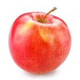 Apple rosso isolato su bianco con il percorso di residuo della potatura meccanica Fotografie Stock Libere da Diritti