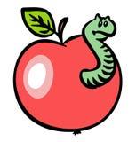 Apple rouge avec un ver de terre. JPG et ENV Photographie stock