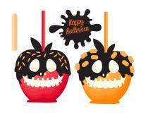 Apple rouge et orange avec la sucrerie douce de chocolat sur des bâtons Dessert heureux de Halloween Illustration de vecteur sur  illustration de vecteur