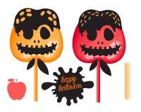 Apple rouge et orange avec le caramel, sucrerie douce de chocolat sur des bâtons Dessert heureux de Halloween Illustration de vec illustration libre de droits