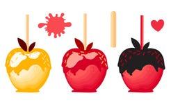 Apple rouge et orange réglé avec la sucrerie douce de chocolat sur des bâtons Dessert d'automne Illustration de vecteur sur le fo illustration stock
