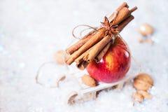 Apple rouge s'embranchent petit traîneau de cannelle photographie stock