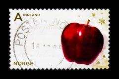 Apple rouge, serie de Noël, vers 2009 Image stock