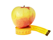Apple and ruler isolated Royalty Free Stock Images