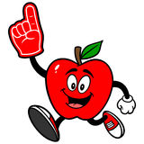 Apple Running with Foam Finger Royalty Free Stock Images