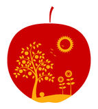 Apple with rural landscape decor Stock Images