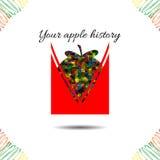 Apple's history.Vector illustration. Drawn idea Royalty Free Stock Photo