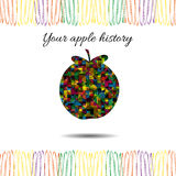 Apple's history.Vector illustration. Outline silhouette Stock Images
