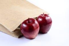 Apple with sackbag. Fresh red apple with sackbag Stock Photography