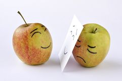 Apple sadness Royalty Free Stock Photos