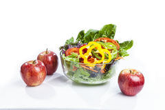 Apple salad. Healthy care with apple salad and cherry tomatoes snack Stock Photo