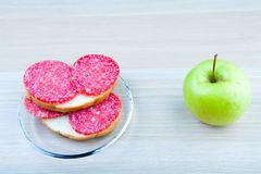 Apple sandwich plate table royalty free stock image