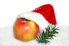 Apple with Santa Hat stock photos