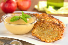 Apple Sauce with Potato Fritters Stock Images