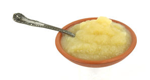 Apple sauce side with spoon Royalty Free Stock Photography
