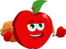 Apple with school bag Stock Image