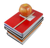Apple and school essentials (with clipping path). NConcept of grade school education depicting an apple.  Clipping path included Stock Image