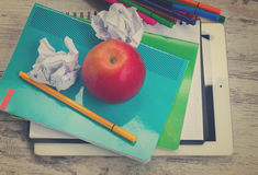 Apple with school supplies Royalty Free Stock Photography