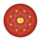 Apple, scienza nel cerchio rosso Fotografie Stock
