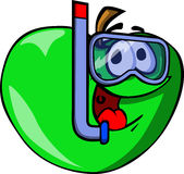 Apple scuba diver Royalty Free Stock Image