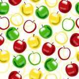 Apple seamless pattern. Apple seamless ornament. Red, yellow and green Royalty Free Stock Photos