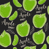 Apple seamless pattern background. Food texture with hand-drawing fruits. Graphic print for restaurant template royalty free illustration