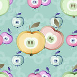 Apple seamless pattern fruits texture kids background Stock Photo