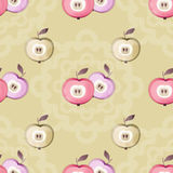 Apple seamless pattern fruits texture kids cute beige background Stock Images