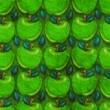 Apple Seamless pattern. Green apple seamless pattern on grunge wallpaper Stock Illustration