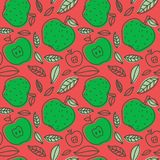 Apple seamless pattern. Hand drawn fresh fruit. Multicolored vec. Tor sketch background. Colorful doodle wallpaper. Red and green print royalty free illustration