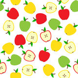 Apple Seamless Pattern. On white background. Fruit texture vector illustration