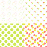 Apple seamless patterns set in modern clean and. Simple flat design. Apple background. Vector illustration Stock Images
