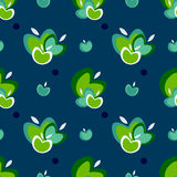 Apple seamless vector pattern. Seamless vector pattern with apples and polka dots Royalty Free Stock Image