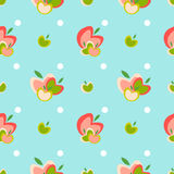 Apple seamless vector pattern. Seamless vector pattern with apples and polka dots Stock Illustration
