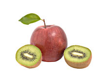 Apple and sections of kiwi fruit Stock Photography