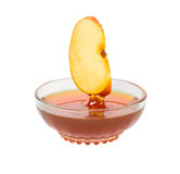 Apple segment and honey. Close up of apple segment and honey stock image